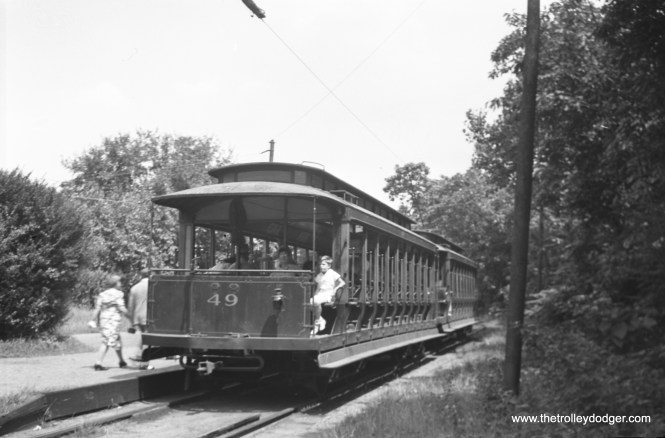 #49, a trailer, seen here as the rear car of a two-car train at the Park Junction station in 1942.