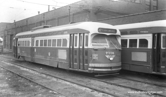CTA 7156 is signed as a one-man car (but appears to be convertible to two-man) at South Shops in October 1956. (Walter Hulseweder Photo)