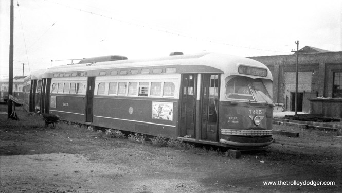 CTA 7225 at South Shops in 1956.