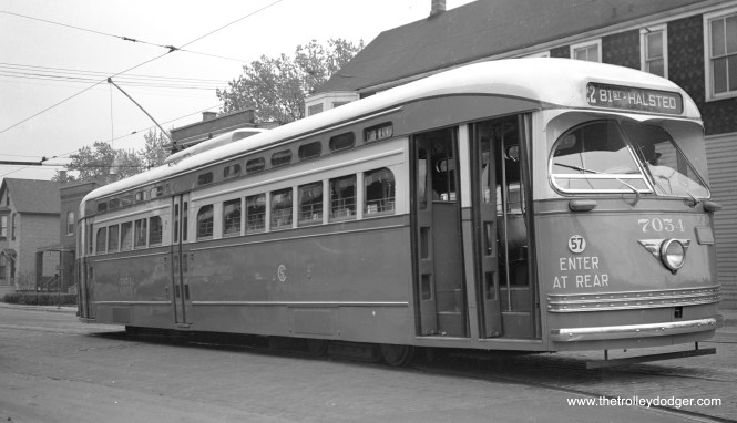 "CSL 7054 in the late 1940s, running on Route 22, probably near the south end of the line. Andre Kristopans: ""7054 is AT the south end of 22 – 81st and Halsted about to turn north into Halsted."""