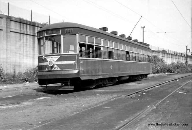 CTA Sedan 3358, still sporting a CSL logo, is at Cottage Grove and 115th, south end of the Cottage Grove line, in May 1948.