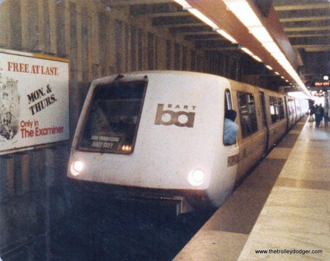 An original Rohr-built BART train at Balboa Park station.