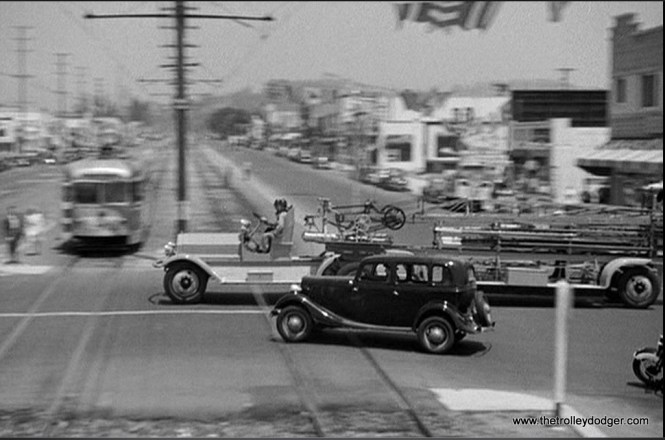 During the chase sequence of the picture, Fields' car passes by a new Pacific Electric double-end PCC car. Filming took place in July and August 1941. PE put the first of 30 such PCCs in service the previous November.