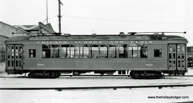 CA&E suburban streetcar 500, built by St. Louis Car Company in 1927.