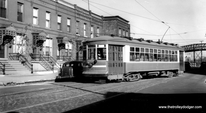 """CSL 6268 is at the east end of the 43rd - Root line (approximately 1146 E. 43rd Street) in the 1940s. In the background, you can see a pedestrian bridge over the nearby Illinois Central Electric tracks. 6268 was known as a Multiple Unit caar. Don's Rail Photos says, """"6268 was built by Cummings Car Co in 1926. It was rebuilt as one man service in 1932."""" (Joe L. Diaz Photo)"""