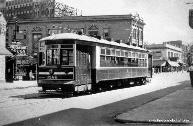 CSL one-man car 3286 is at Montrose and Broadway on Route 78 in April 1942.