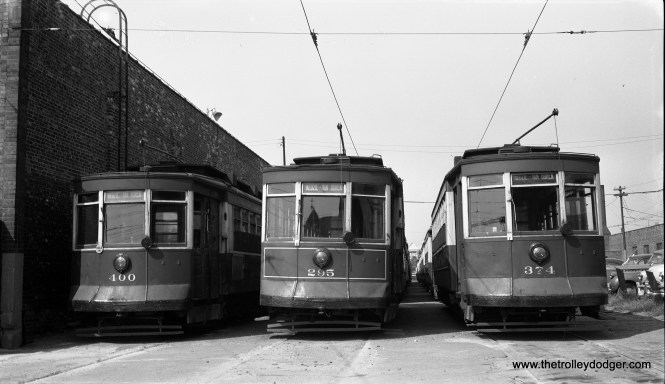 """3 CTA Big Pullmans: #400, 295 and 374, in the yards at the end of the Kedzie barn (5th and Kedzie), August 9, 1953."" (Robert Selle Photo)"