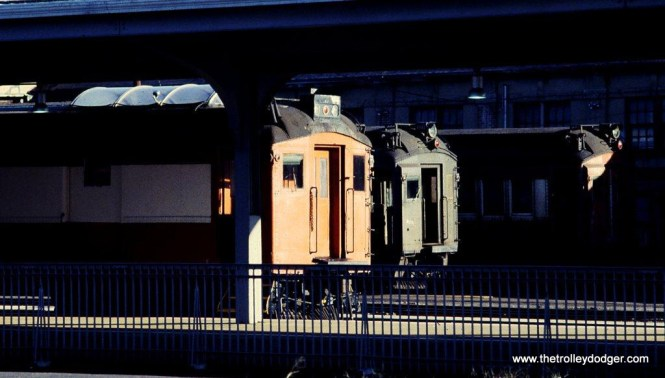 Photo 10. Catenary inspection car #3408 once more. This time in company with other Ex-DL&W MUs facing the afternoon sun at Hoboken, NJ.