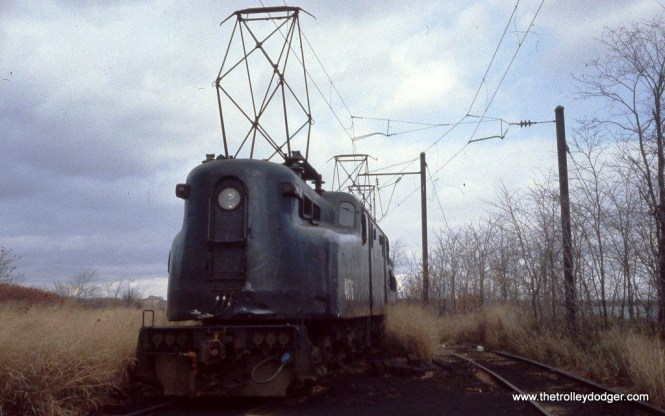 Photo 15. GG-1 #4876 with tip-toe pantographs at the South Amboy Engine Terminal.