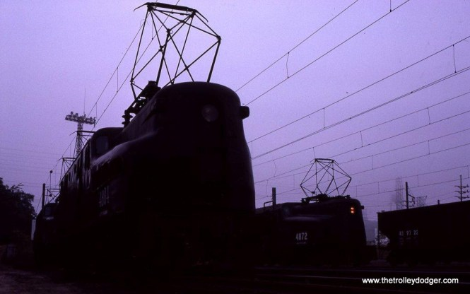 Photo 16. NJT GG-1s in the fog at South Amboy. 5-25-83.
