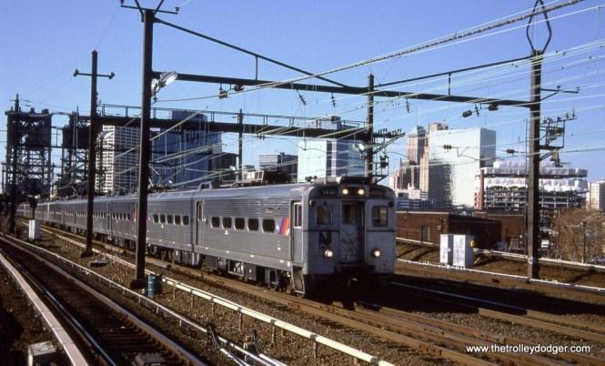 Photo 17. Arrow III MU #1418 leads a New York train at Harrison, NJ. 1-12-02.
