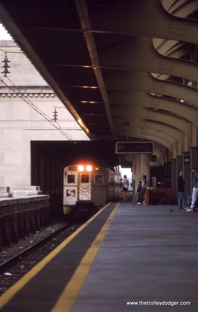 SEPTA Silverliner IV #368 on a R-5 train arriving at the Upper Level of 30th Street Station, Philadelphia PA. 4-25-93.