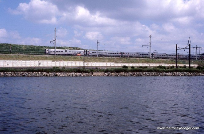 Photo 20. NJT Arrow III #1361 is the last car of an eastbound train along the Passaic River at Kearny, NJ on August 15, 1997. I couldn't resist including a photo of an MU numbered 1361 after mentioning PRR K-4 steam locomotives in the previous caption.