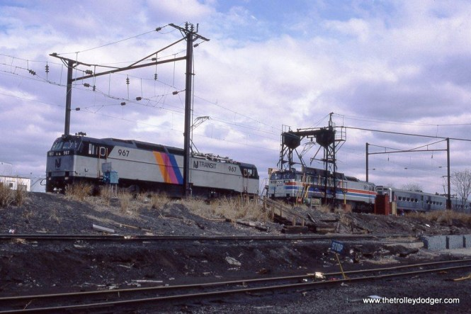Photo 5. E-60 #967 at the South Amboy, NJ engine terminal. 3-21-87.
