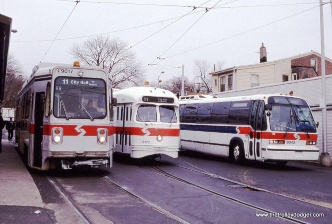 SEPTA Kawasaki car #9017, PCC #2129, & GM RTS bus (model T8W603) #8043 at Darby, PA in 1992.
