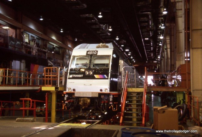Photo 7. NJ Transit ALP-45DP #4510 inside the MMC locomotive shop.