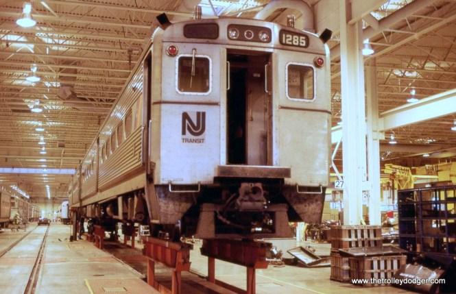 Photo 9. NJ Transit Arrow III #1285 is inside the Meadows Maintenance Complex at Kearny, NJ in 1988.