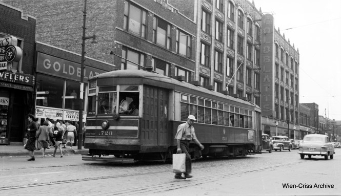 CTA 173 is on Chicago Avenue near Ashland, on Route 66. Note the Goldblatt's nearby. Goldblatt's was a local department store chain that operated from 1914 until 2000. In 1946, they had 15 local stores, with annual sales of $62m. (Robert Selle Photo, Wien-Criss Archive)