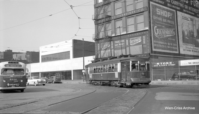 CTA Pullman 265 is northbound at State and Archer on Route 45 (Ashland-Downtown). At left, we see a Route 44 CTA bus. This helps date the picture to between July 7, 1951 (when 44 converted to bus) and February 14, 1954 (when routes 9 and 45 were converted). (Robert Selle Photo, Wien-Criss Archive)