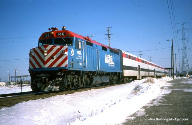 A Metra push-pull train at the Berkeley station near Proviso Yard, February 18, 1990. (Joseph Piersen Photo)