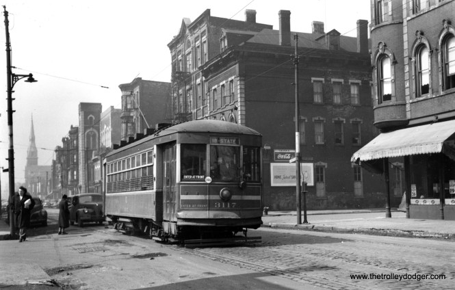 """One-man CSL 3117 is eastbound on 18th Street at Carpenter (approx. 1100 West) in the 1940s. Don's Rail Photos: """"3117 was built by CSL in 1922. It was scrapped in 1948."""" This was part of a series known as CSL Safety Cars, aka """"Sewing Machines."""" (Joe L. Diaz Photo)"""