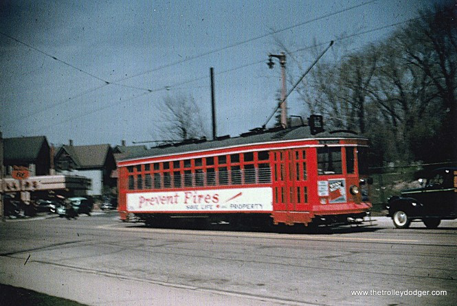 TM 871 (painted for fire prevention week) is seen at 19th and Hopkins Streets on Rt. 12. (Earl Ruhland photo)