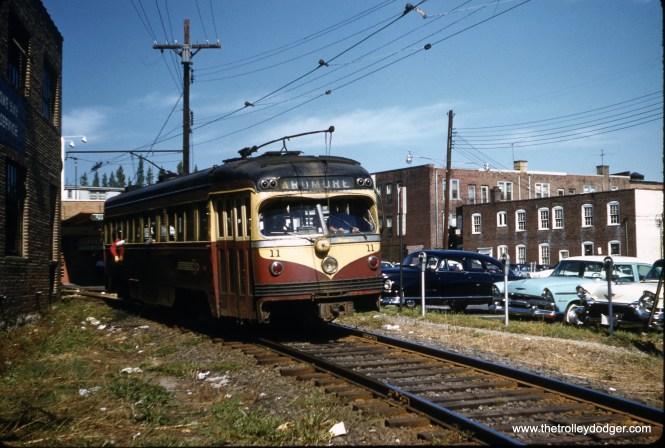 Philadelphia Suburban (aka red Arrow) car 11 at the end of the line on the short Ardmore branch on September 9, 1958. (Clark Frazier Photo)