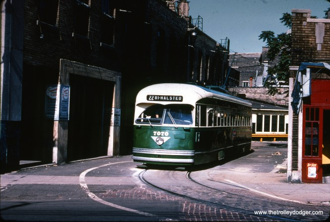 CTA PCC 7070 at the Clark and Howard loop on July 4, 1954.
