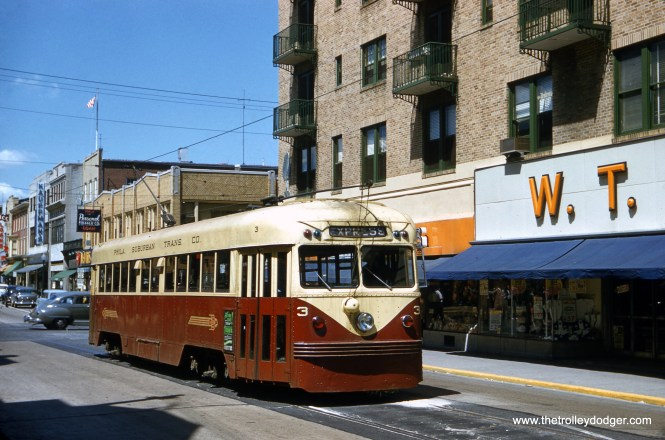 Philadelphia Suburban (aka Red Arrow) Brilliner car 3 at Gay and High Streets in West Chester on June 6, 1954, at the end of trolley service on this route. The longest Red Arrow line was mainly a single-track side-of-the-road operation, which had to give way for the widening of West Chester Pike. (Edward S. Miller Photo)