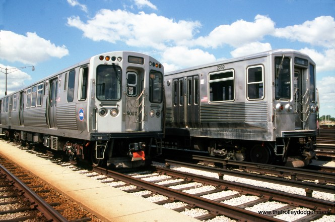 The new and the old. CTA 5007 and 2269 at Rosemont on August 26, 2010. The 2200s have since been retired. (Bruce Nelson Photo)