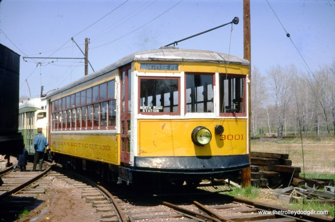 Connecticut Company Birney car 3001 at the Connecticut Trolley Museum in May 1967. (Gerald H. Landau Photo)