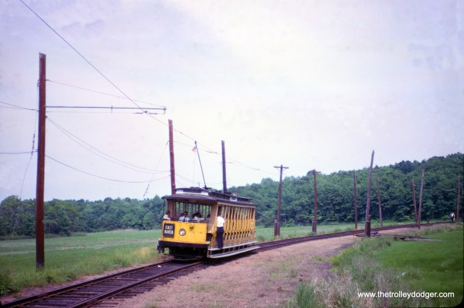Connecticut Company open car 1414 was built by Osgood Bradley in 1911. Here, we see it at the Shore Line Trolley Museum located at Branford, Connecticut on June 18, 1966. (William C. Janssen Photo)