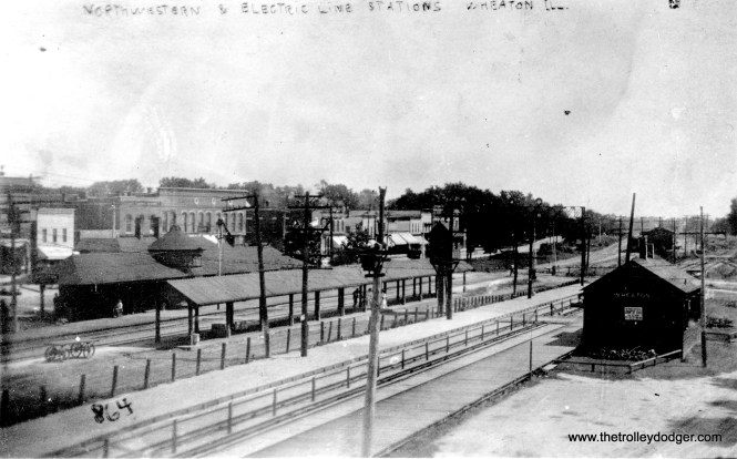 """The caption here reads, """"North Western and electric lines stations, Wheaton."""" The CA&E is in the foreground. The photo is not dated, but it must be quite early."""