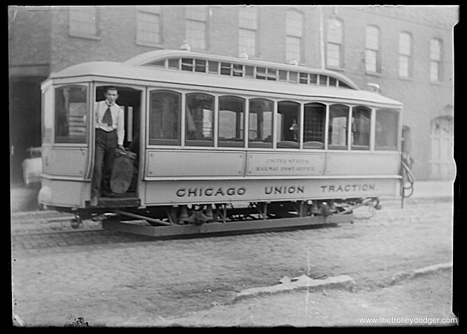 This amazing photo is from a glass plate negative we recently purchased, and shows a Chicago Union Traction streetcar RPO (railway post office) unpowered trailer car. CUT existed between 1899 and 1908, which helps date the photo. This car may previously have been a cable car trailer, before being pressed into mail service.