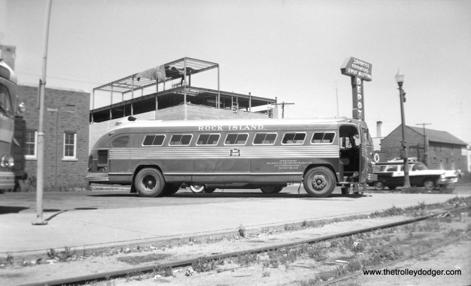 """By strange coincidence, this photo showing a Rock Island Motor Transit Company bus was taken in June 21, 1958. Bill shapotkin adds, """"The photo was taken at the joint CGW/Greyhound/Jefferson bus station in Rochester, MN. This bus provided connections from/to ROCK trains at Owatonna, MN."""" (William Shapotkin Collection)"""
