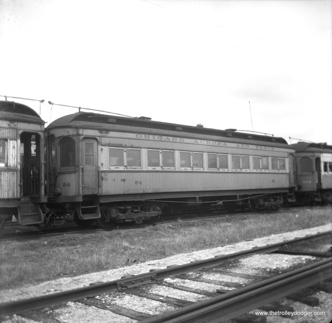 """CA&E wooden interurban car 54. Don's Rail Photos: """"54 was built by Stephonsin in 1903. It was modernized in July 1946 and retired in 1959."""""""