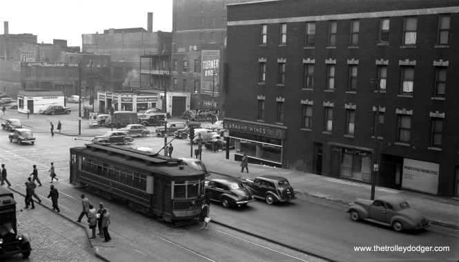 CSL red Pullman 293 is at Roosevelt and Wabash on June 13, 1947.