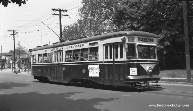 Indianapolis Railways 155 was built by Brill in September 1933. On May 21, 1950 it is at the east end of the Washington Street line on a fantrip.