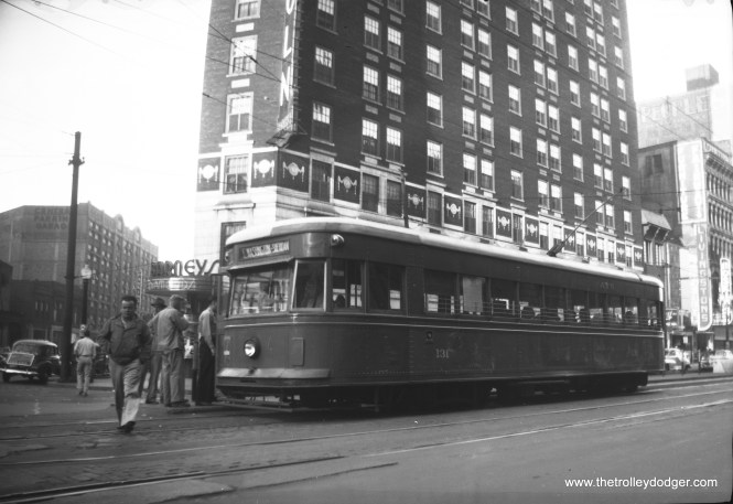 On August23, 1946, photographer Walter Hulseweder snapped this picture of Indianapolis Railways 131 on Washington Street at Illinois Avenue on the Washington-Sheridan line.