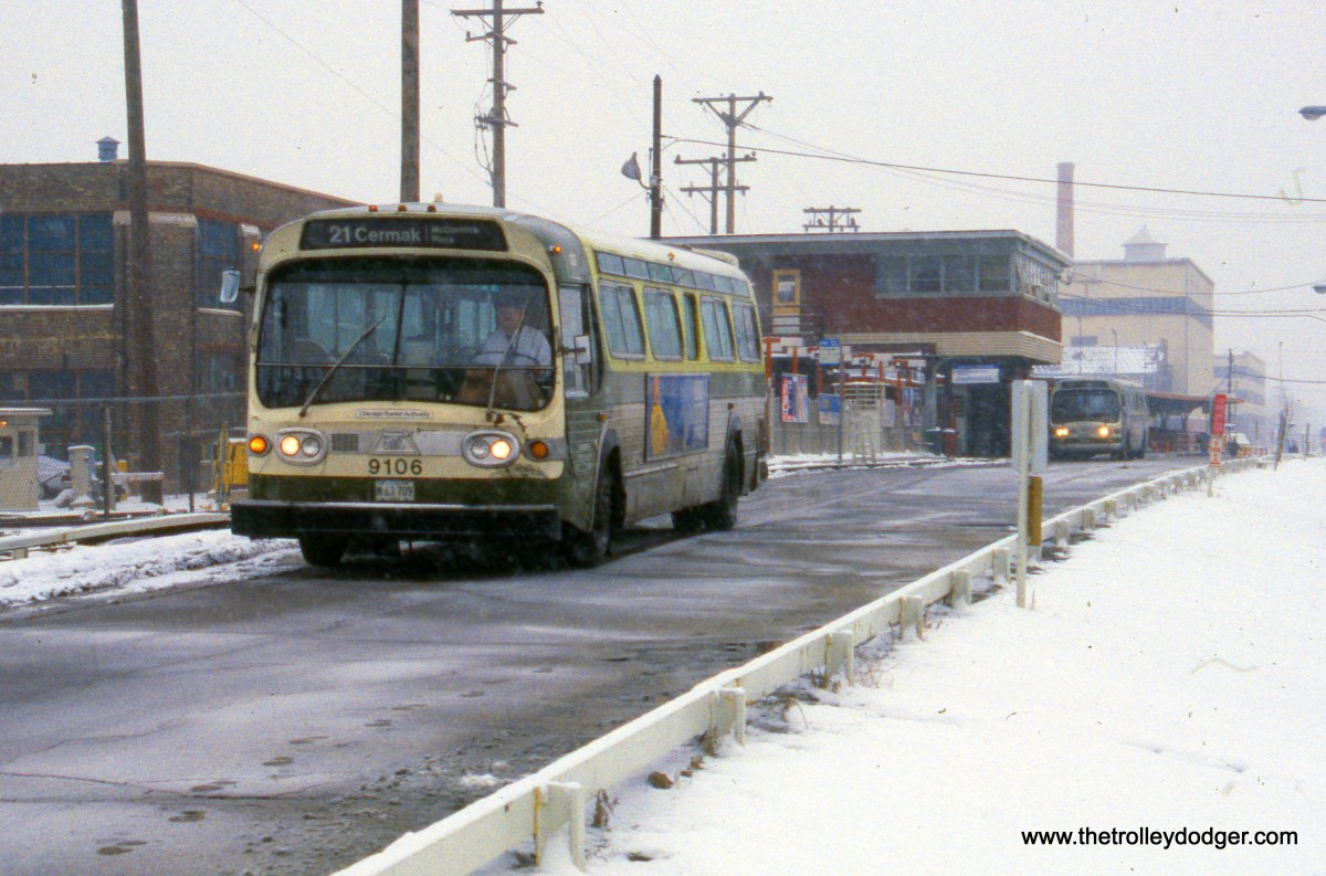 CTA bus 9106 heads west from the 54th Avenue terminal in Cicero on February 5, 1989 on Route 21 - Cermak. (Ronald J. Sullivan Photo)
