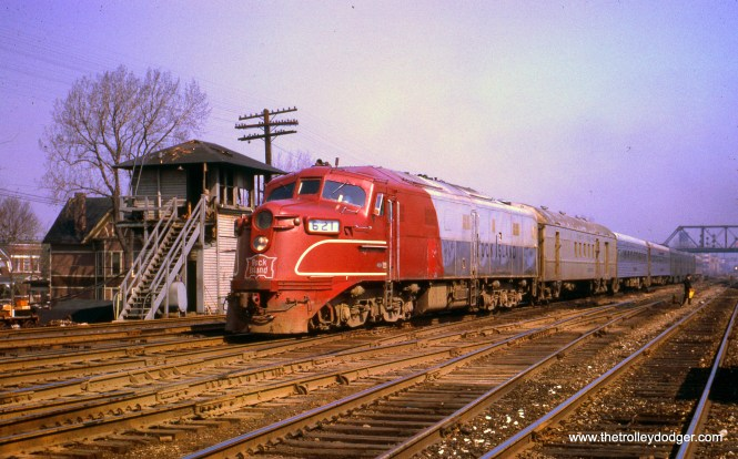 Rock Island train #11 (with engine #621) passes the burned-out 61st Street Tower on April 20, 1967, the day after the fire. 61st was the end of the four-track section running from LaSalle Street Station in downtown Chicago.