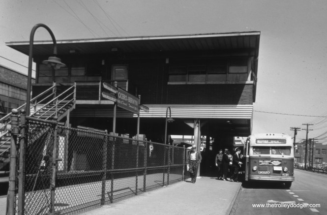 """CTA 3620 at 54th Avenue in Cicero, the end of the line for the Douglas Park """"L"""" (now the Pink Line)."""