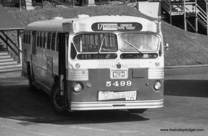 "CTA bus 5499 is at DesPlaines Avenue terminal in Forest Park, running on Route 17 - Westchester, which replaced the Westchester ""L"" in 1951."