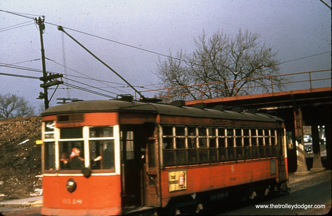 CTA 6148 at Halsted and 75th on February 22, 1954. (James J. Buckley Photo)