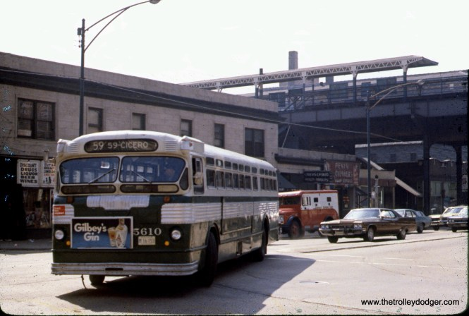 CTA Route 59 bus 5610 is at 59th and State on April 26, 1972.