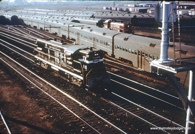 Chicago, IL. NYC loco #7300 is seen as it passes the CRI&P coachyard. The view looks south from the Roosevelt Road bridge in November 1963. (John Szwajkart Photo)