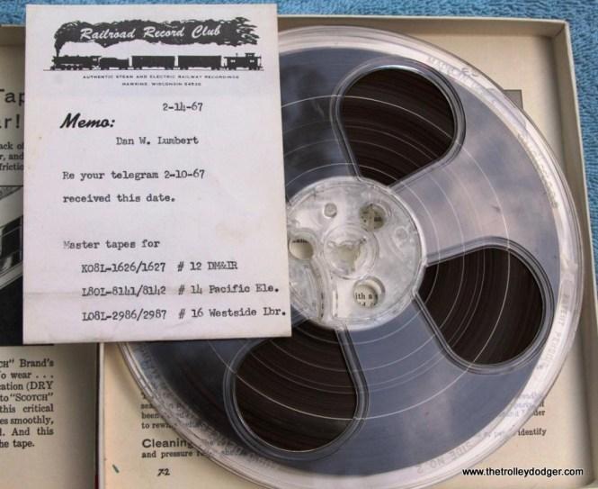 27 master tape Railroad Record Club with memo