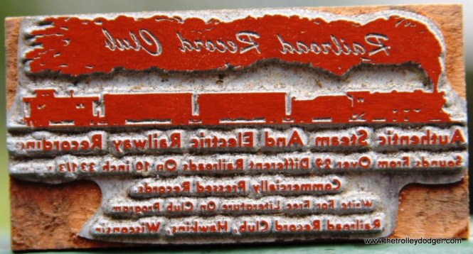 5. Railroad Record Club logo print block