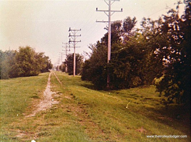 Abandoned TM r.o.w. heading west from end of street running in Oconomowoc in 1976.