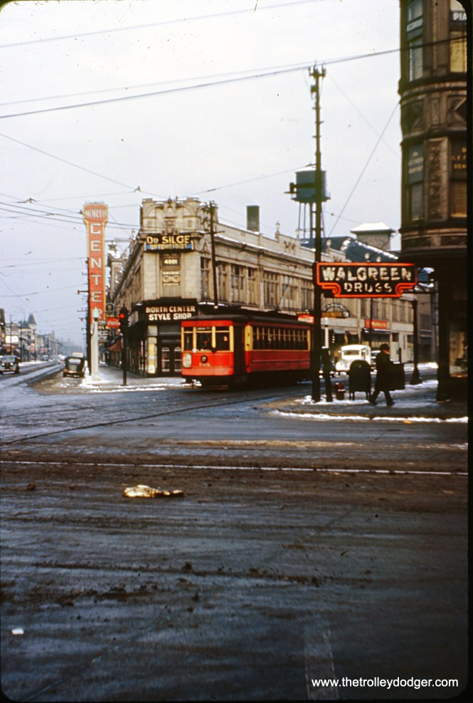 On January 1, 1947, Chicago Surface Lines 789 heads south on Damen Avenue at the intersection of Lincoln and Irving Park Road. I lived about a block away from here in the 1980s and this neighborhood is known as North Center.